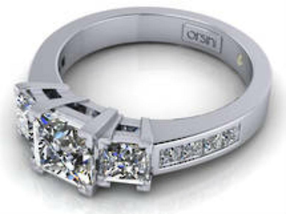 3 stone Princess cut diamond ring